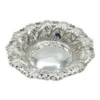 Antique 1800s Sterling Silver Bon Bon Dish