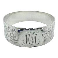 Antique 1800s Sterling Silver Napkin Ring, Serviette Ring