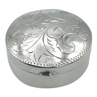 1970s Solid Sterling Silver Pill Box
