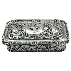Antique Sterling Silver Repousse Snuff Box