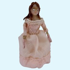 Jointed Wooden Miniature Doll with Rare Wig