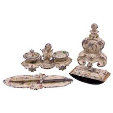 Set of 4 Rococo style Painted Soft Metal Miniature Desk and Writing Set items circa 1900