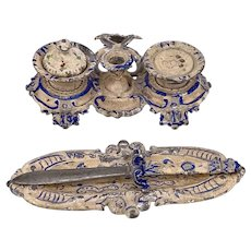 Two Rococo style Painted Soft Metal Miniature Writing Set items circa 1900