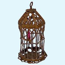 Ormolu Birdcage with Red Bird for Dollhouse
