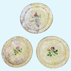 Three Early Treen Plates with Rose Pattern