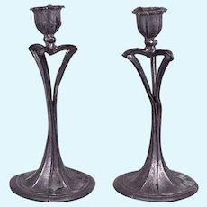 Pair White Metal Art Nouveau Style Dollhouse Candlesticks