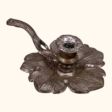 Pewter chamber candle holder for dollhouse