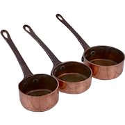 Vintage set of 3 graduated size solid copper open miniature saucepans with steel handles