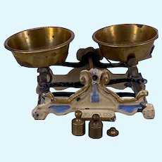 Early Marklin original cream scales with blue and gold detailing and brass pans, Germany 1880