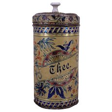 """Antique Miniature Lithographed Tin Labelled """"Thee"""" / Tea"""