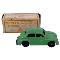 Triang Minic Boxed Tinplate Clockwork Morris Saloon Car
