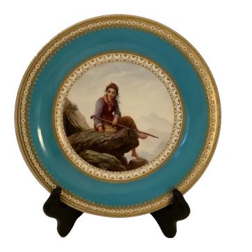 Worcester painted plate.