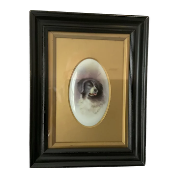 F Micklewright painting of dog on porcelain plaque