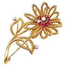 Vintage Tiffany & Co 14k Yellow Gold Diamond Ruby Flower Brooch