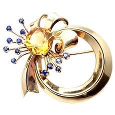 Rare Tiffany & Co 14k Yellow Gold Sapphire Citrine Pin Brooch