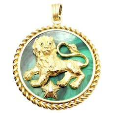 Rare Van Cleef & Arpels 18k Yellow Gold Malachite Diamond Zodiac Pendant (Circa 1950)