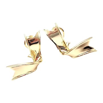 Tiffany & Co 18k Yellow Gold Ribbon Earrings (Circa 1988)