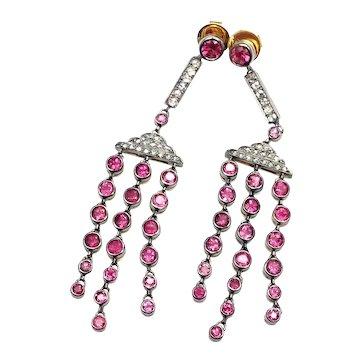 Laura Munder 18k Yellow Gold Diamond & Pink Sapphire Earrings