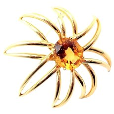 """Tiffany & Co. Vintage """"Fireworks"""" Citrine Brooch in 18k Yellow Gold"""