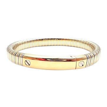 Van Cleef & Arpels 18k Yellow Gold & Steel Bangle Bracelet