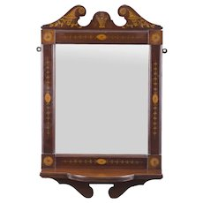 Antique Mahogany Inlaid Marquetry Mirror c.1900 - 94 x 51 cm