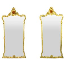 Antique Pair French 2.5 metre Giltwood Pier Mirrors c.1900 - 246 x 125 cm