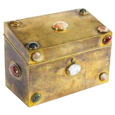 Antique Victorian Brass & Semi Precious Stones Cabochon Stationery Casket C1860.