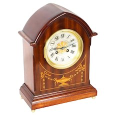 Antique French Mahogany & Marquetry Mantle Clock Circa 1900