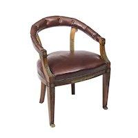 Antique Second Empire Mahogany Tub Arm Desk Chair c.1850