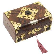 Antique Victorianl Empire Revival Burr Walnut Casket Sewing Box C1860