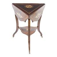Antique Edwardian Triple Drop Flap Occasional Side Table c.1900