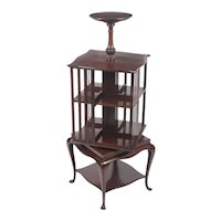 Antique Mahogany Revolving Bookcase Book Stand With Pedestal C1900