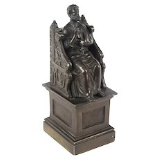 Antique Italian Grand Tour Patinated Bronze Sculpture of St Peter 19th Century