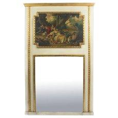 Antique French Painted & Parcel Gilt Trumeau Mirror Circa 19th C