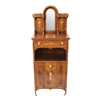 Antique Edwardian Gonçalo Alves Marquetry Inlaid Music Cabinet 19th Century