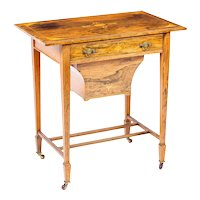 Antique Edwardian Inlaid Workbox Side Occasional Table c.1890 19th Century