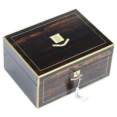 Antique Victorian Coromandel & Brass Banded Box 19th C