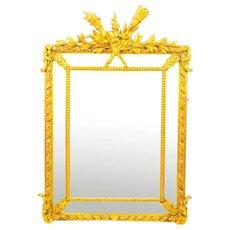 Antique Giltwood Louis Revival Overmantel Cushion Mirror 19th C 133x 92cm
