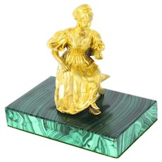 Antique Russian Malachite & Gilt Bronze Mounted Model of a Maiden C1870 19th C