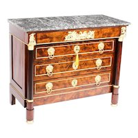 Antique French Empire Chestnut Commode Chest Marble Top c.1860