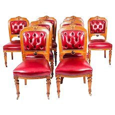 Antique Set 8 English Carved Oak Leather Upholstered Dining Chairs C1860 19thC