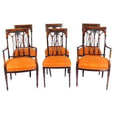 Antique Set 6 Sheraton Revival Mahogany and Satinwood Dining Chairs Ca 1900