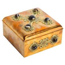 Antique Brass & Agate Gaming Box Edinburgh C1850 19th C