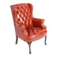 Antique Leather Chippendale Wing back Chair Armchair C1900