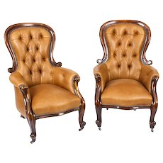 Antique Pair English Victorian Mahogany Spoonback Leather Armchairs 19th C
