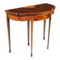 Antique Mahogany and Satinwood Inlaid Serpentine Card Console Table Circa 1900