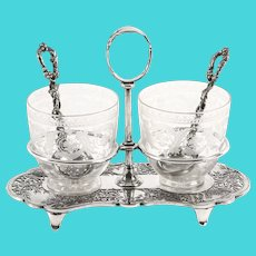 Antique Victorian Silver Plated Glass Strawberry & Cream Set c1870 19th Cent