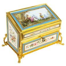Antique Sevres Porcelain Desktop Correspondence Casket Stationery Box 19th C