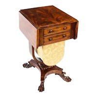 Antique William IV Drop Leaf Work Occasional Table Flame Mahogany 19th Century
