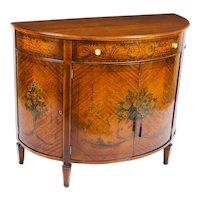 Antique Edwardian Satinwood Demi Lune Cabinet 19th Century